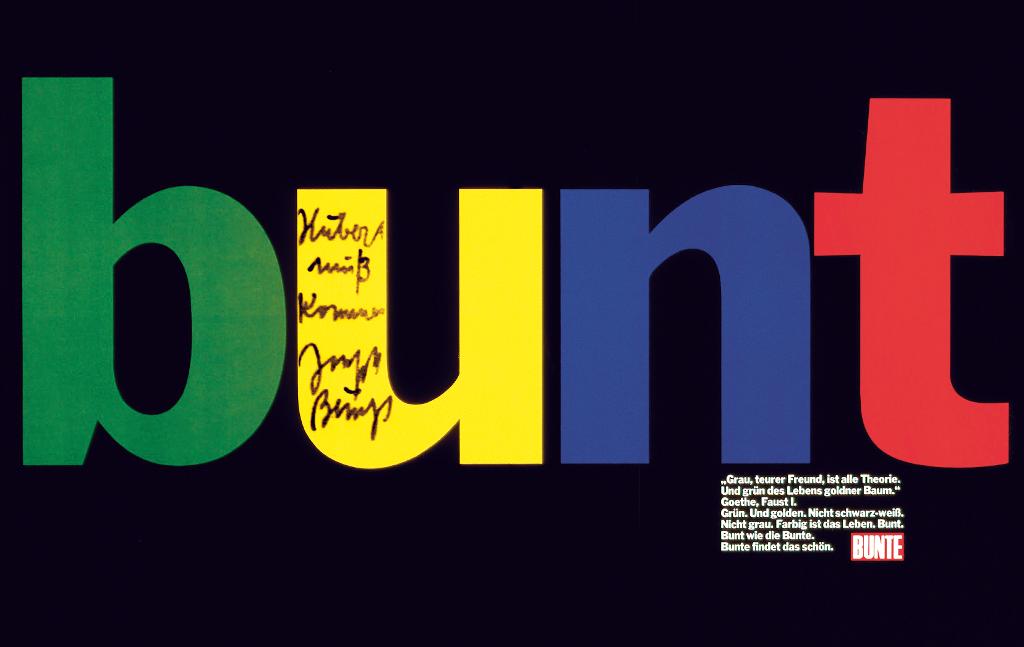 Bunte-Anzeige mit Beuys-Text